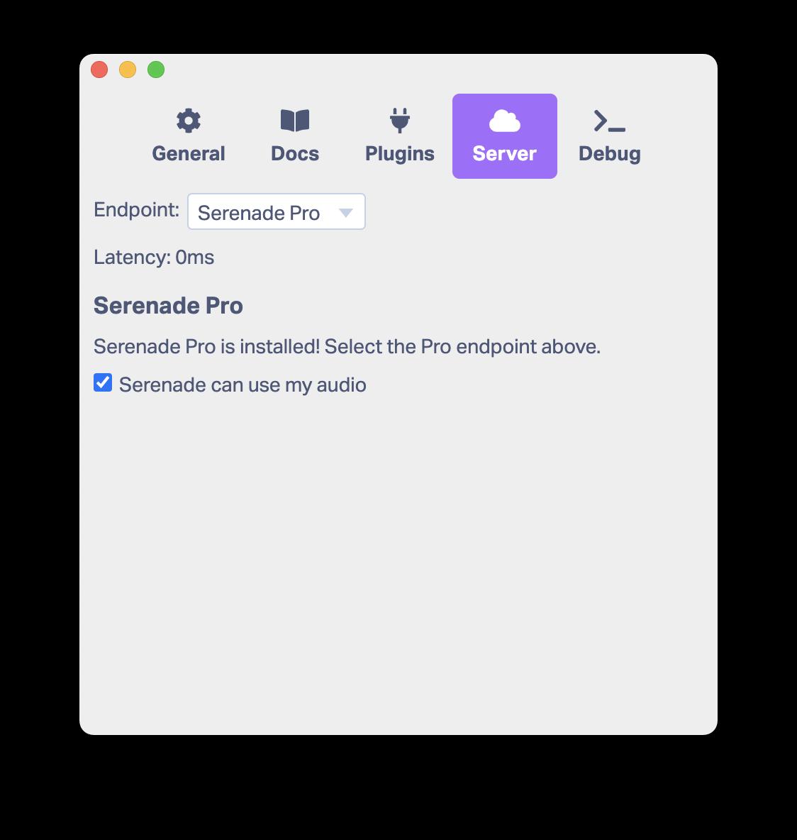 Serenade Server Settings